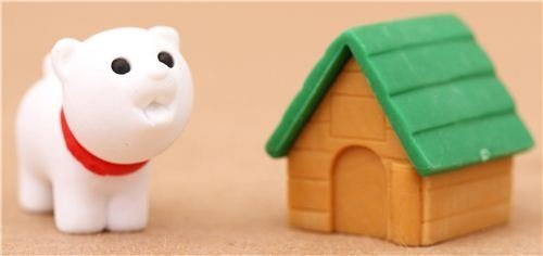 white dog with green doghouse eraser by Iwako by Iwako