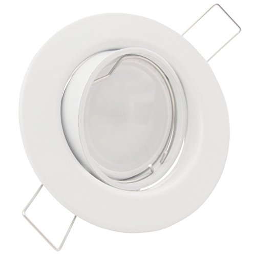 1er Set 230V LED Decken Einbaustrahler DECORA (rund) Weiß; Modul 5W = 50W; DIMMBAR; Neutral-Weiß (4000k); nur 35 mm Einbautiefe; Einbauleuchte; schwenkbar -