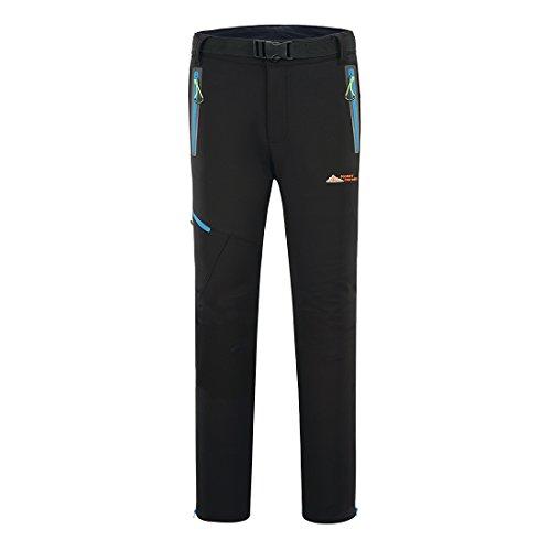 MOUNT CONQUER Homme Coupe-Vent Doublé Polaire Pantalon Softshell Imperméable Outdoor Sport Pantalon de Randonnée d'escalade Noir