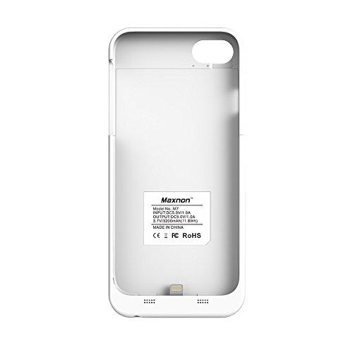 CaseforYou Batteriefach Hülle iPhone 7 Taschen Schalen Akkus 3200mAh Portable Charging Case External Battery Backup Charger Power Bank Protective Cover Batteria Schützend Batterie-Schutz für iPhone 7  weiß