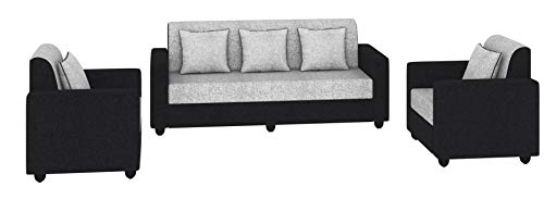 Bharat Lifestyle Tulip Five Seater Sofa Set 3-1-1 (Black)