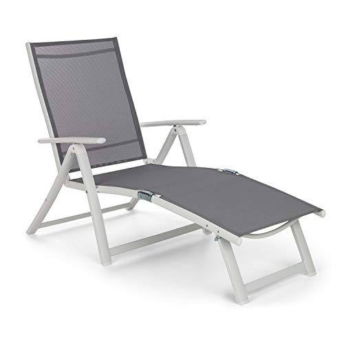 blumfeldt Pomporto Lounge Liegestuhl Sonnenliege Gartenliege (Liegefläche: 173,5 x 51 cm, höhenverstellbare Lehne in 7 Stufen, Wasserabweisende Liegefläche, ComfortMesh, klappbar) weiß
