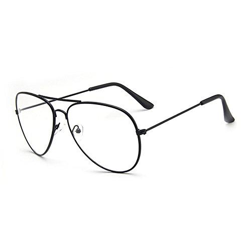 Skitic Unisex Classic Aviator Pilotenbrille Metallgestell Brillenfassung Ohne Stärke Brille Dekobrillen - (Brille Flieger)