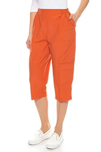 Kendindza Damen Sommer Capri-Hose | 3/4 Cargo-Shorts mit Taschen | Basic Uni-Farben (Orange, M)