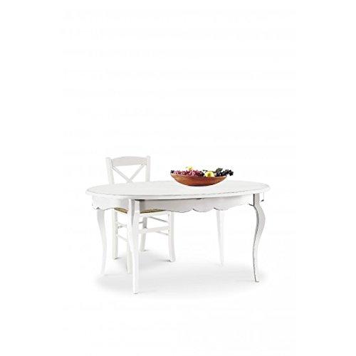 EsteaMobili Table Ovale Extensible en Bois Blanc Mat