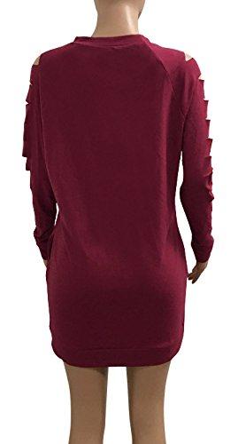 Kleider Damen Langarm Aushöhlen Rundhals Elegant Vintage Kurz Fashion Casual Sweatkleider Kleid Rot
