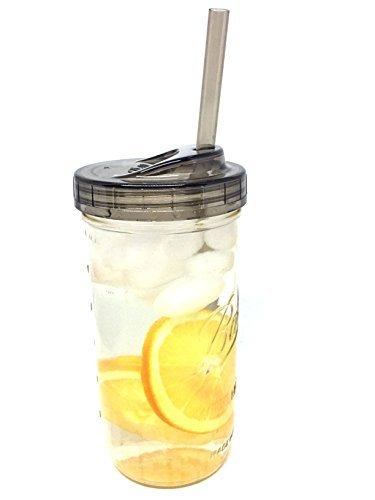 Mason Trinken Topf mit Einem Stück Sip Deckel und Trinkhalm 24oz Jar Farblos ()
