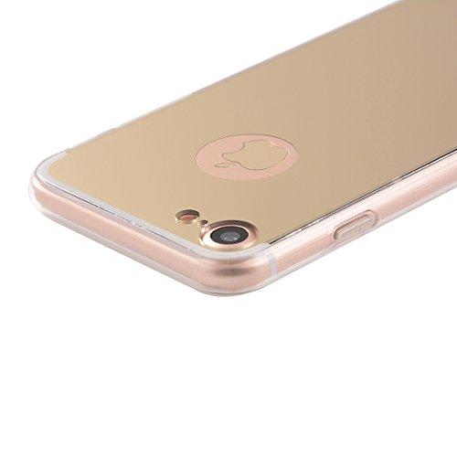 MOONCASE iPhone 7 Coque, Slim Etui Avec Effet Miroir Soft TPU Silicone Protection Housse pour iPhone 7 (Or) Rose Or