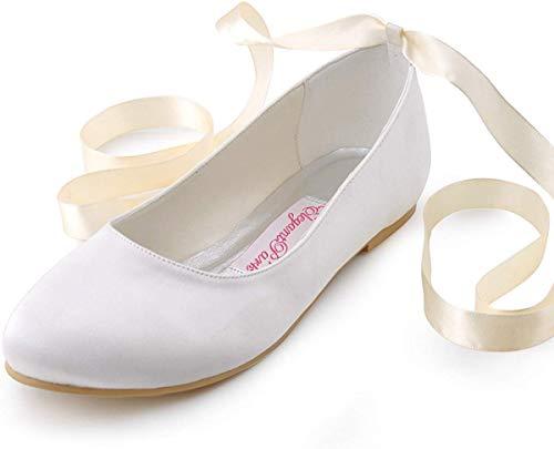 ElegantPark EP11105 Pisos Bailarinas Cerrado Raso Zapatos de Novia Mujer Marfil Talla 41