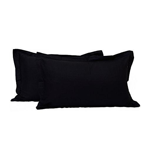 Fadenzahl 300 Baumwoll-satin Bettwäsche (BudgetLinen 2PCs Single Color Kissenbezug Pair(Schwarz , Oxford King 50 X 90 CM) 100% ägyptischer Baumwolle Premium Qualität 300 Fadenzahl)