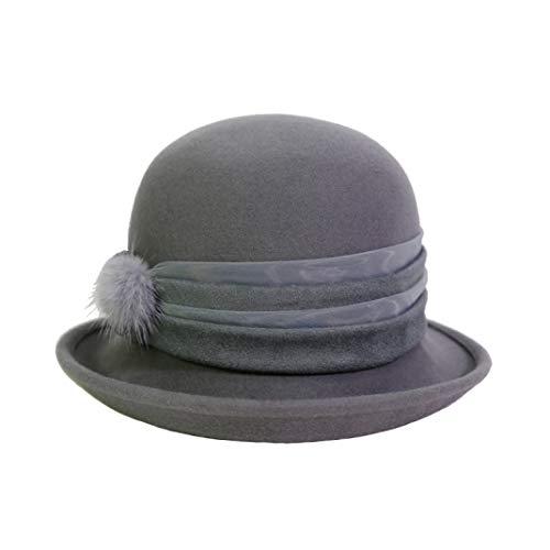 GOUNURE Wollfilz Roll-up Fedora Hats Elegante Vintage-Mode Trilby Hut Jazz Cap Sonnenhut Eimer Cloche Hut für Frauen -