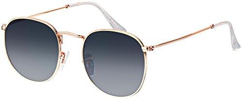 Sonnenbrille La Optica UV 400 Schutz Unisex Damen Herren Retro Rund - Gold Rahmen (Gläser: Blau/Grau Verlauf)