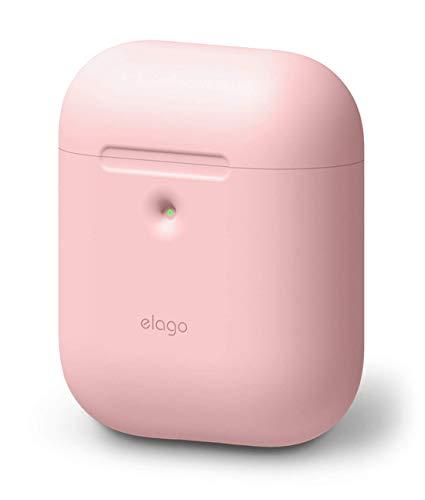 elago A2 Silikonhülle kompatibel mit Apple AirPods 2 Wireless Hülle (LED an der Frontseite sichtbar) - [Unterstützt kabelloses Laden] [Extra Protection] (ohne Karabiner, Rosa)