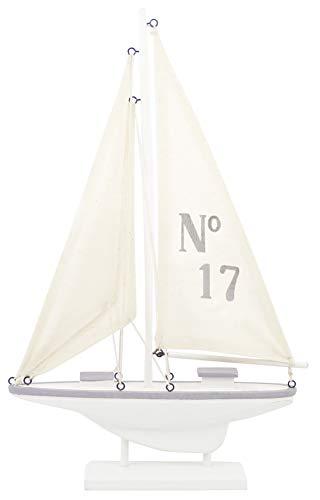 Unbekannt Deko-Objekt Segelboot, stilisiert, klein, Holz, weiß/grau, Holz, weiß/grau, 23 x 28 x 4 cm