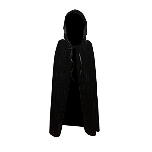 Brightup Kinder Kapuzen-Samt Umhang Robe Cape Halloween Ostern (Schwarz Kostüme Cape Erwachsene Hooded)
