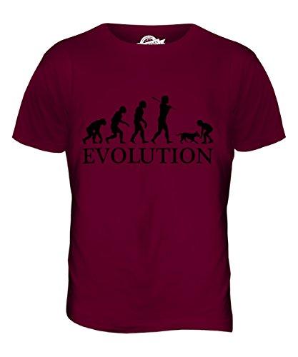 CandyMix Mädchen Mit Hund Evolution Des Menschen Herren T Shirt Burgunderrot