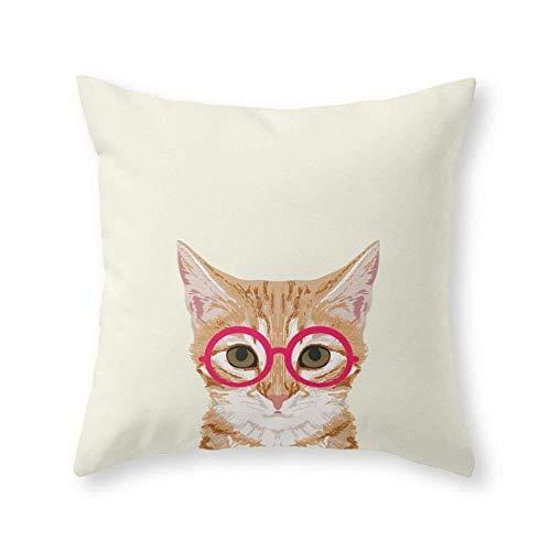atopking Dekorativer Kissenbezug Ingwer - süße Katze mit Brille Hipster Katze Kissenbezug und dekoratives Home Throw Kissen Home Room Decor Geschenk