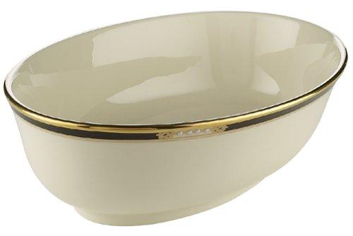 Lenox Hancock Gold gestreift Elfenbeinfarben China Teller mit Abendessen Tafelgeschirr aus Porzellan, Modell: Hancock von Lenox Open Vegetable Bowl goldfarben Lenox China Open Vegetable Bowl