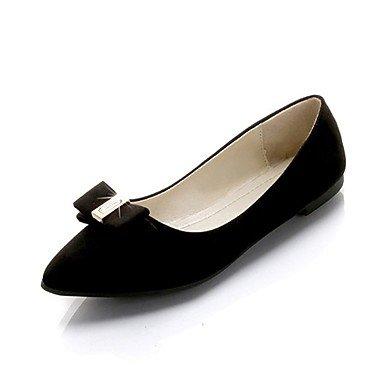 Wuyulunbi @ Zapatos De Mujer Pu Spring Comfort Flats Tacón Plano Redondo Bowknot Dedo Del Pie Para Casual Rosa Gris Negro Beige Negro