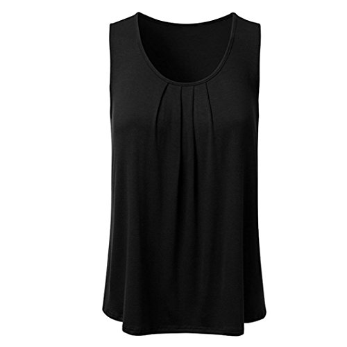 KaloryWee Women's Casual Sleeveless Tunic Tops Pleated Scoop Neck Loose Fit Tank Crop Top