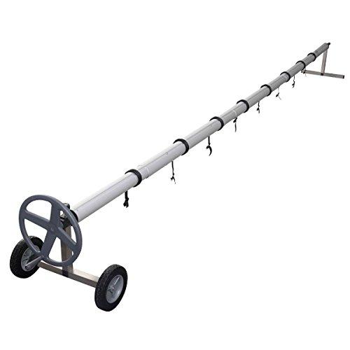 COSTWAY Enrouleur de Bâche Télescopique Enrouleur de Couverture Thermique pour Piscine en Aluminium et Acier Inoxydable 4,2-4,6 m