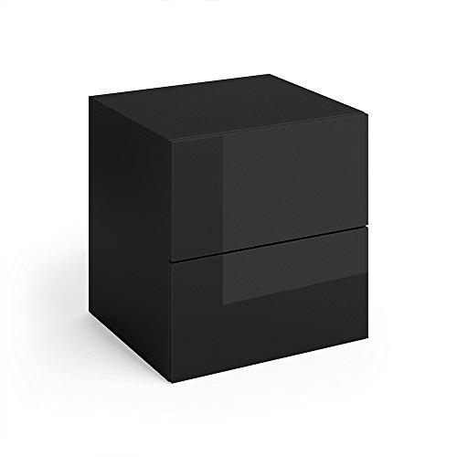VICCO Nachttisch CHARLES schwarz hochglanz Nachtschrank Kommode Schrank Schlafzimmer Schublade