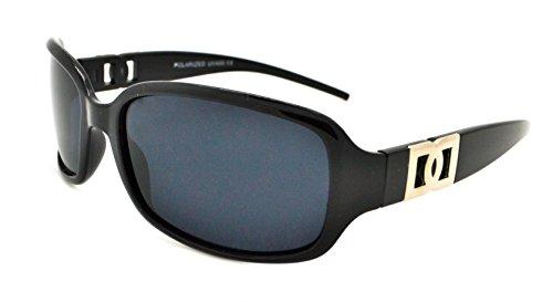 Vox polarisés tendance classique de haute qualité pour femme Hot Fashion Lunettes de soleil W/sans pochette en microfibre Black Frame - Smoke Lens