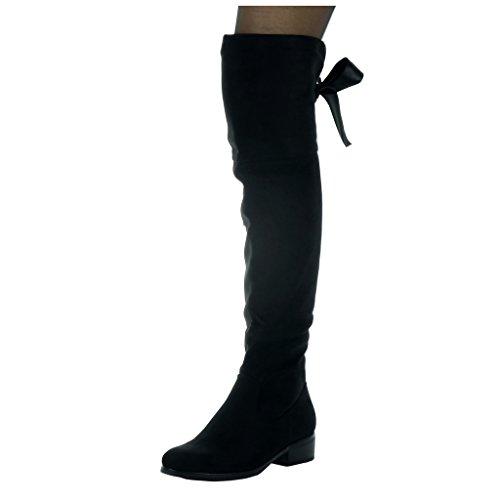 Angkorly Zapatillas de Moda Botas Altas Cavalier Flexible Mujer Codones de Saten Talón Tacón Ancho Alto 3.5 cm - Plantilla Forrada de Piel - Negro H187 T 38