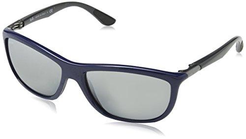Ray Ban Unisex Sonnenbrille RB8351, Mehrfarbig (Gestell: blau-grau, Gläser: grauverlauf verspiegelt 622288), X-Large (Herstellergröße: 60)