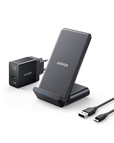 Anker PowerWave 7.5 Ladeständer Wireless Charger, Ladeständer mit innerem Kühlungsventilator für Temperaturregulierung, 7,5 W Ladungen für iPhone X, 10 W für Samsung S9 (mit Quick Charge Ladegerät)