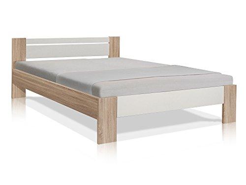 moebel-eins Vegas Komplett-Set Futonbett 140x200 cm inkl. Rollrost und Matratze Eiche Sonoma Nachbildung MDF/Weiss