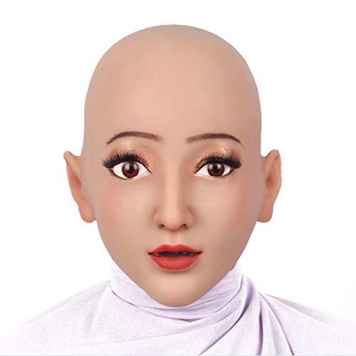 CUSHION Halloween-Maske Realistische Silikon Engel Weiblicher Kopf Maske Handmade Makeup Cosplay DWT Transvestite,Asianyellow