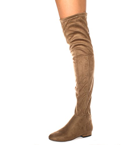Neue Damen Oberschenkel Hohe Stiefel Über das Knie Stretch Abend Größen 3–8 Taupe