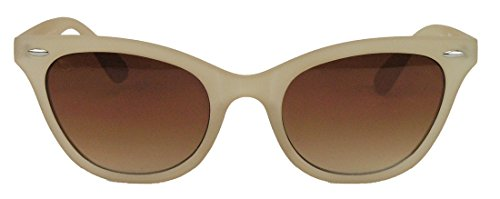 50er Jahre Damen Sonnenbrille Cat Eye Nerdbrille Katzenaugen Rockabilly Hornbrille BB (Nude)