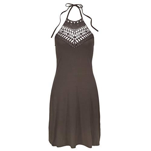 Beikoard Frauen Bodycon Kleider Neckholder Kleid Fest ärmellos Strandkleid Beiläufig ()