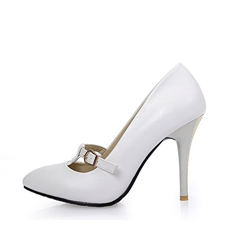 Voguezone009 Femmes Shimmer Pur Boucle Pointu Toe Chaussures Fermé Talon Stiletto Ballerines Blanc