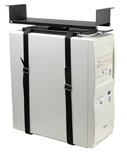 ROLINE PC Halterung Universal | Untertisch Befestigung | Computer Tischhalterung | Schwarz - Mit Rechner Halter