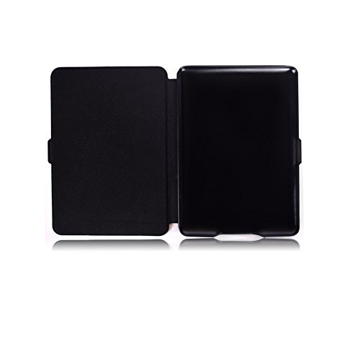 BtDuck Leather Case for Amazon Kindle Paperwhite E-reader Stand Tablet Shell Protector Painted Leather Flip Folio Cover Anti-slip Skin Outdoor Protection Shockproof Anti-scratch Slim-fit Case Wallet Shell with Stander Oyster ID Card ( Travel Card Bus Pass ) Holder Slots Pocket Kickstand Function Magnetic Closure + 1 * Black Stylus Pen Black