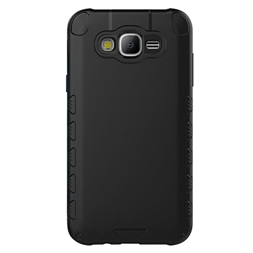 Galaxy J5 Case (Cubix) Armor Robot Cover [Anti Scratch] Slim-Fit Two Layer Defender Bumper Back cover For Samsung Galaxy J5 (Matte Black)