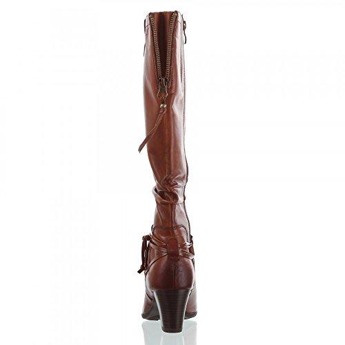 CAPRICE Damen leder Stiefel cognac Absatz 6,5 cm Braun