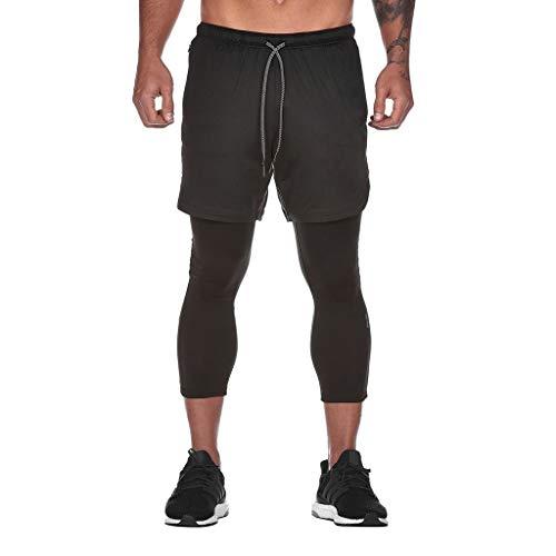 Sommer 2 in 1 Kurze Hosen Schnelltrocknende Laufshorts Herren Shorts Leisure Pants Training Bodybuilding Brief Shorts Workout Fitness Gym Kurze Hosen