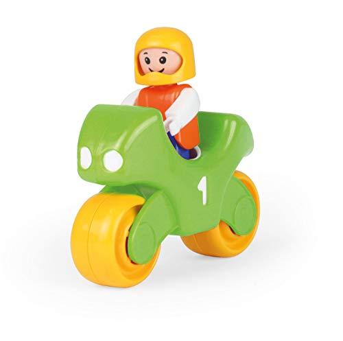 Lena 01570 My First Racers Motorrad, Spielzeugmotorrad mit beweglicher Spielfigur als Rennfahrer, Rennmaschine zum Schieben und Rollen, Spielfahrzeug für Babys und Kleinkinder ab 12m+, grün