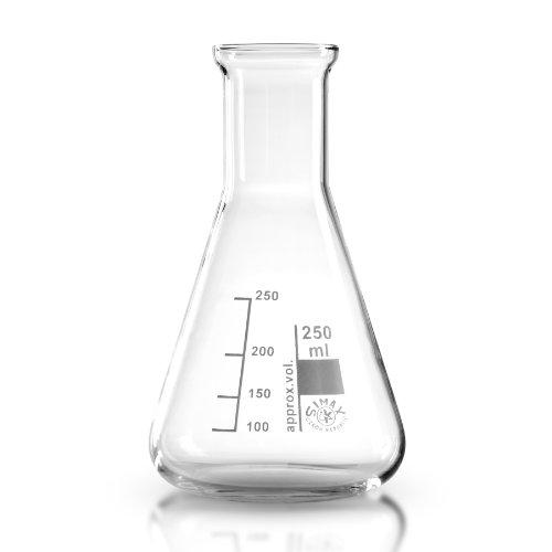 Erlenmeyerkolben 250 ml aus hochwertigem Laborglas (Borosilikat 3.3) / transparent / graduiert / hitzefest / Laborqualität / Simax Erlenmeyer Kolben / Borosilikatglas / Erlenmeierkolben / Erlenmeier Kolben / Erlenmayerkolben / Erlenmayer Kolben