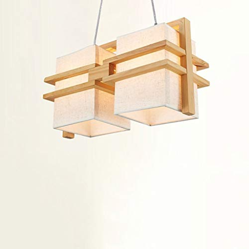 Holz-rahmen Deckenleuchte (Yuany Nordic Creative minimalistischen Massivholz Kronleuchter, Holz Wohnzimmer Esszimmer Schlafzimmer Kronleuchter, Leinen Lampenschirm Beleuchtung Deckenleuchte, quadratischen Rahmen aus Holz Kr)