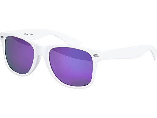 Balinco Hochwertige Nerd Sonnenbrille matte Rubber Retro Vintage Unisex Brille mit Federscharnier - 101 verschiedene Farben/Modelle wählbar (Weiß - Lila)