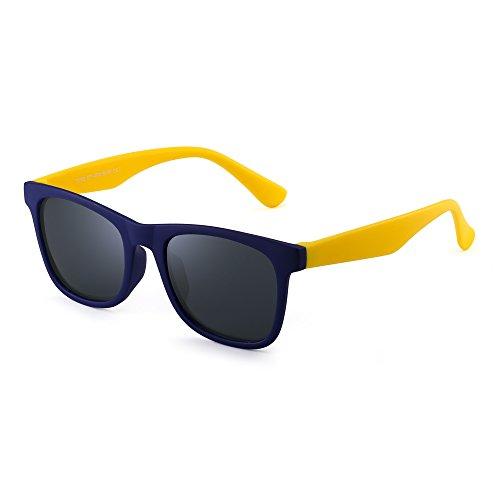 Polarisiert Kinder Sonnenbrille Gummi Jungs Mädchen Kids Flexibel Brille Alter 3-12 (Blau Gelb/Polarisiertes Grau)