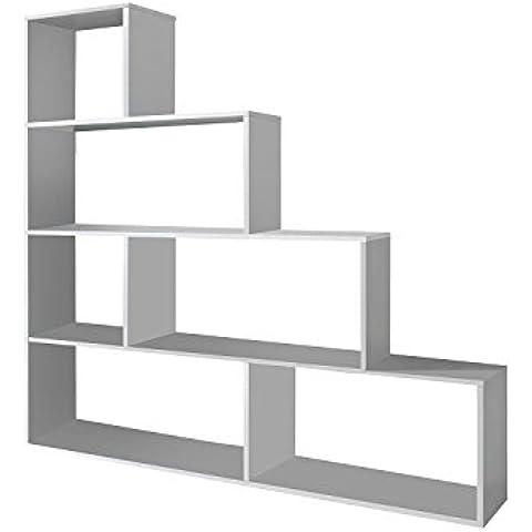 Habitdesign 002255BO - Estantería decorativa, acabado color blanco brillo, medidas 145 x 145 x 29