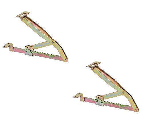 Gedotec Profi Liegen-Hochstellstütze Rasthochstell-Beschlag 300 mm | Klappenstütze in 18 Stufen | Klappenbeschlag Stahl verzinkt | 1 Paar