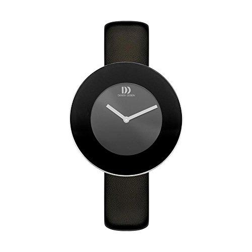 Danish Design Women's 41mm Black Leather Band Steel Case Quartz Grey Dial Analog Watch IV13Q1206