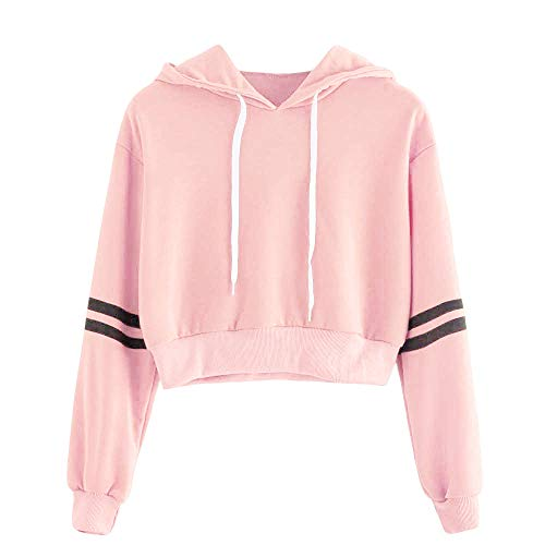 Femme Sweatshirt Court Chemise Capuche DéContractéE T-Shirts, Manteau Femmes Hiver LâChe Fleece Blouse Rayé Modern Et Casual Sport Hoodie (Rose, M(EU=38))